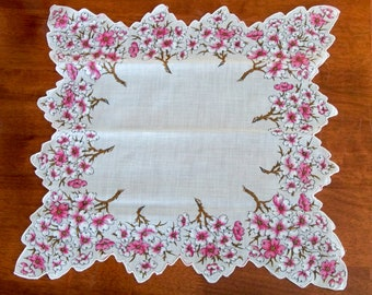 Vintage Spring Floral Handkerchief - Pink and White Dogwood - Scalloped Edge
