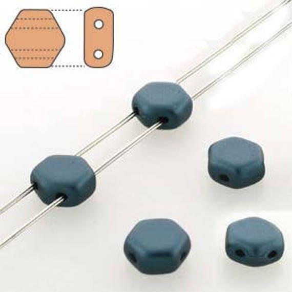 30 x 6mm Czech Honeycomb Beads Pastel Petrol