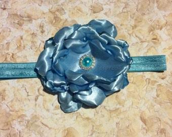 Blue floral headband, girls headband, infant headband, baby headband, photo prop, baby shower gift, baby gift, toddler headband, handmade