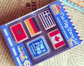 National Flag Stamp & Ink Pad Set - Rubber Stamp - Wood Stamp - Deco - Diary - Filofax - MR005