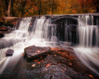 Cascades of Autumn ( Fine Art Limited Edition one of one 12 x 18 inch Fall Decor Photographic Wall Print )