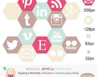 SALE Social Media Icon, Social Media Button, Web Icon, Blog Icon, Web Design Icon, Web Design Button, Geometric Blog Icon, Commercial Use