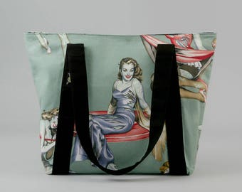 Zombie Zippered Tote Bag, Fabric Shoulder Bag with Pockets, Pin-Up Girls, Canvas Liner, Horror Fan, Zombie Purse Handbag