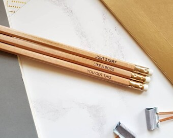 Pencil Set, Natural/Wood Pencils with Motivational Quotes. Quote Pencils! Desk, Office Gift.