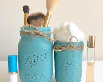 Teal Mason Jars, Makeup Brush Holder, Cute Office Decor, Cute Desk Decor,