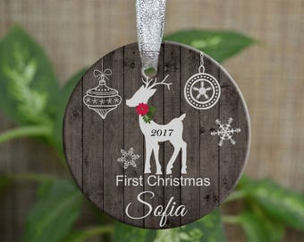 Personalized Christmas Ornament, Baby First Christmas ornament, Custom Ornament, Newborn baby gift, Deer ornament, Christmas gift. o019