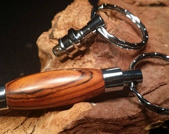 two piece key chain in cocobola