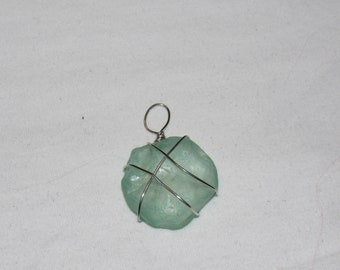Beach glass wire wrapped pendant