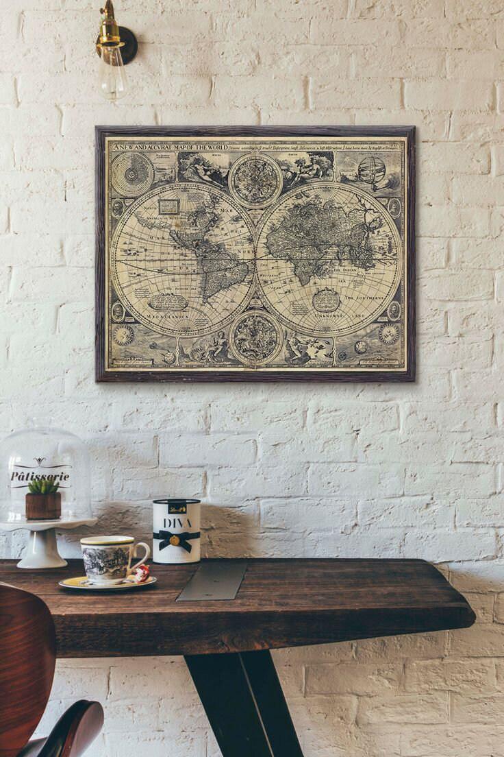Vintage Old World Map 1626 Old Map Antique Restoration