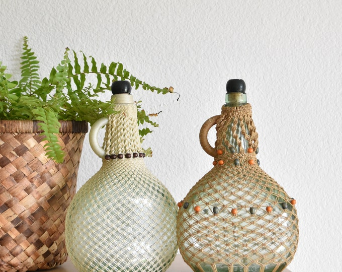 vintage woven macrame wine liquor bottle decanter / glass jug / flower vase