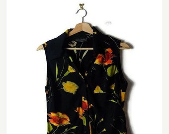 ON SALE Vintage Black x  Floral  Sleeveless  Blouse from 90's