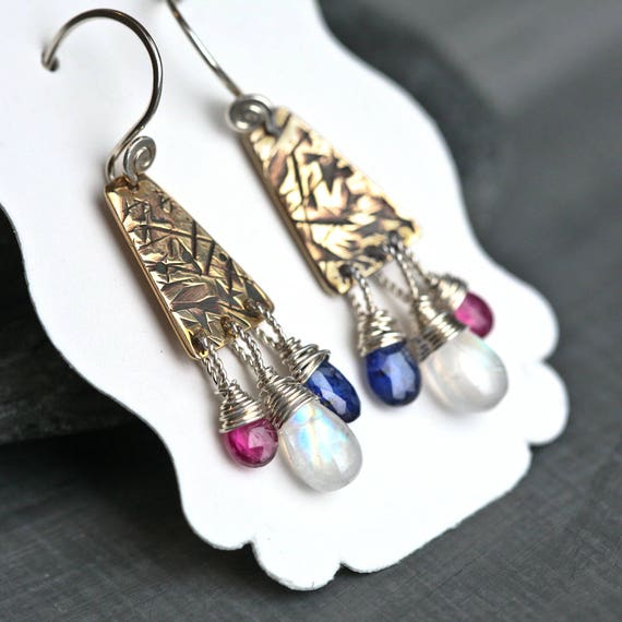 Textured Brass Pylons with Moonstone, Sapphire, and Pink Tourmaline  Dangles Sterling Silver Earrings