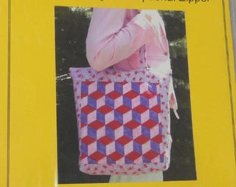 Dream Weaver Patterns - Woven Tumbling Blocks Tote Bag - Quilted Look - QBert Board - DIY Gift Idea - Craft Project -  NEW in Bag