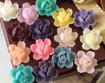 12 mm Resin Orchid Flower Cabochons  (.tu)
