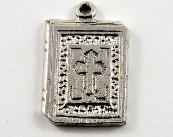 Holy Bible with Cross on the Front Sterling Silver Charm or Pendant.