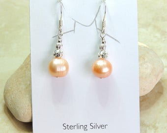 Apricot Cultured Pearl Sterling Silver Earrings. Pearl Earrings. Pearl Anniversary gift. Bridal jewellery. Gift for her. Gift for girlfriend