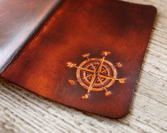 Leather Passport Cover, Personalized Passport Holder, Nautical Compass Graduation Gift, Leather Travel Gift, Traveling Students Study Abroad
