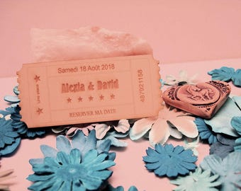 Set of 10 tickets 02066 wooden wedding invitation