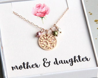 Mother Gift, Family Tree Necklace, Personalized Mother Necklace, Mom Necklace, Personalized Birthstone Necklace, Rose Gold Tree of Life