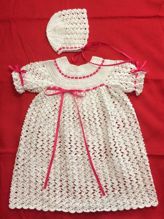 Taufe Kleid neugeborenes Baby-Taufe-Set crochet Kleid für