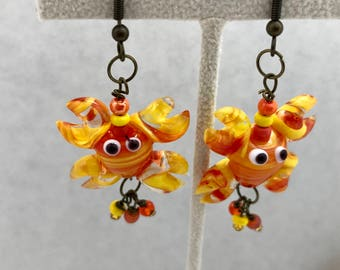 Lobster Orange Yellow Lampwork Earrings Glass Dangle Doodaba
