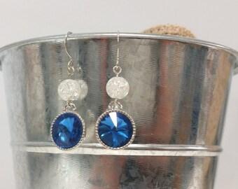 Simple Blue Rhinestone Earrings