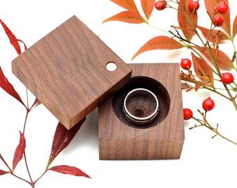 Heirloom Ring Box | Walnut | Engagement & Wedding | Wood Ring Box | Anniversary Gift | Modern Ring Box