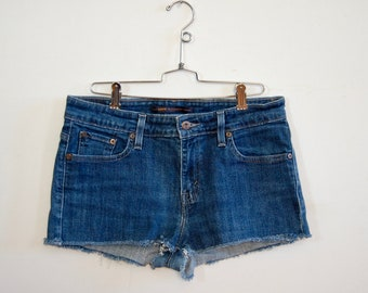 "Levi's Denim Cutoffs - Denim Cutoffs - Blue Jean Cut Offs - Size 30"" - Handmade Cutoff Jeans - Summer Fashion - Denim Shorts - Gift for Her"