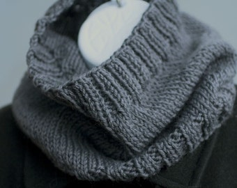 Mens Cowl Scarf, Mens Gift, Charcoal Grey Cowl, Hand Knit Neckwarmer, Gray Neck Warmer,  Womans Scarf