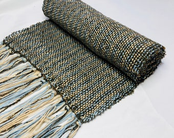 Olive green handwoven scarf