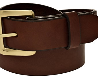 """Full Grain Leather 1-1/4"""" Casual Brown Belt. Handmade in the USA  (#1537)"""