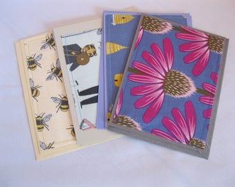 Fabric Note Cards Coneflower Skep Beekeeper Bees Moose Ukulele
