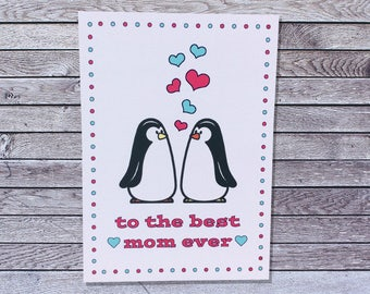 Penguin Love Mother's Day Card for Wife for Girlfriend / Love Mothers Day Card