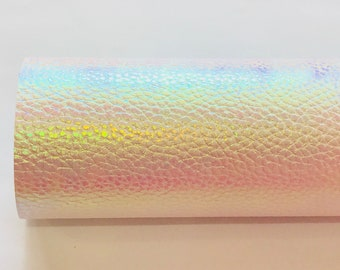White Holographic Colour Changing Faux Lestherette A4 Sheet 0.8mm thickness