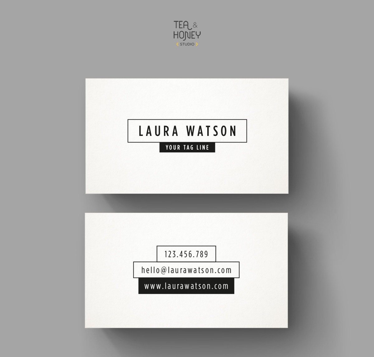 Minimalistic black and white business card template Premade