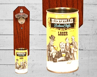 Brickskeller Saloon Bottle Opener with Vintage Beer Can Cap Catcher, Great Housewarming Gift