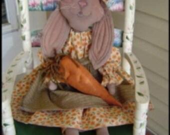 Doll Pattern Folk Art Rabbit epattern Sewing digital Primitive PDF