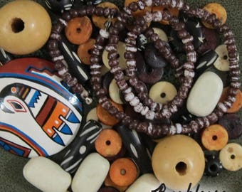 Bead Lot, Tribal Wood, Bone, Wood, Stone, Bead Blend, Bead Assortment, Salvaged Beads
