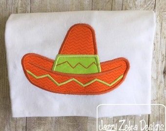 Sombrero Appliqué embroidery Design - Sombrero Appliqué Design - hat Appliqué Design - cinco de mayo Appliqué Design