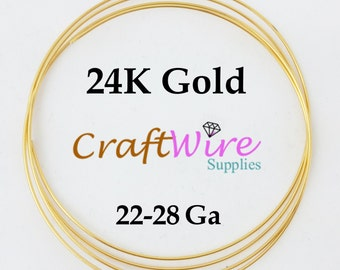 24K Solid Yellow Gold Round Wire, 1/4-Hard, 20 22 24 26 28 Gauge, 3 in 6 in, 1 Foot 3 Feet, 100% Pure Gold