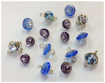 16 GLASS Beads with STERLING Wires