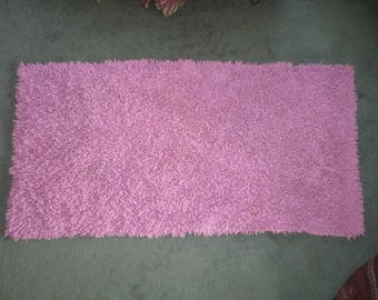 Vintage 1940s Fabulous Purple 48x24 Thick Plush Heavy Cotton Loop Bath Mat Rug No.2