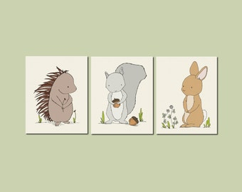 Woodland Nursery Art -- Woodland Animal Art -- Set of 3 Prints -- Woodland Nursery Decor -- Bunny Porcupine Squirrel -- Kids Wall Art