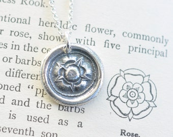 Tudor Rose wax seal necklace pendant ... silver rose necklace - union rose - post medieval wax seal jewelry