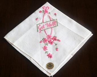 Get Well Handkerchief, Get Well Hanky, Message Hanky, Embroidered Handkerchief, Pink Embroidered Hanky, Nasharr Switzerland, Pink Hanky