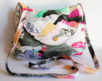 Crossbody bag in colourful abstract mountains print - ready to ship