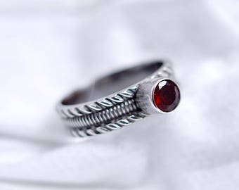 Garnet ring silver - red stone ring size 8 - alternative engagement ring - sterling silver jewelry