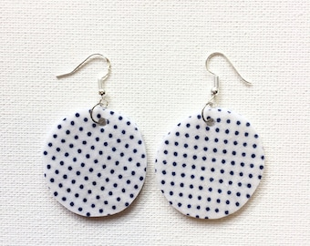 Drop 'fly' earrings. Recycled Fabric. Bright colourful eclectic one of a kind. Dangle. Polkadot. Navy blue. White. Circle. Round.