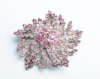 Crystal Brooch,50mm Floral Brooch/Pendant, Rose AB Crystals G353.13
