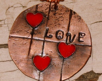 Love Necklace stamped copper pendant brass red heart resin
